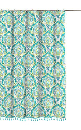 Paisley Fabric Shower Curtain: Damask Design with Tassel...