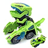 Kidsonor Kids Transformed Dinosaur Robot Car, Electronic Dino Robot Vehicle Car Toy Battery Power with LED Light Music (Green)