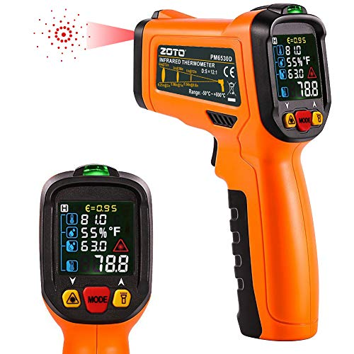 ZOTO Infrared Thermometer, Non Contact Digital Laser Temperature Gun Instant Read -58℉ to 1472℉ with Color LED Display and K-Type Thermocouple for Kitchen Cooking BBQ Automotive and Industrial
