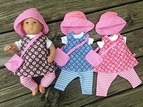 Puppenkleidung handmade für Badepuppe Planscherle Netty Gr. 30 cm Kleidung 5-teilig millefleur NEU Kleiderset Blümchen