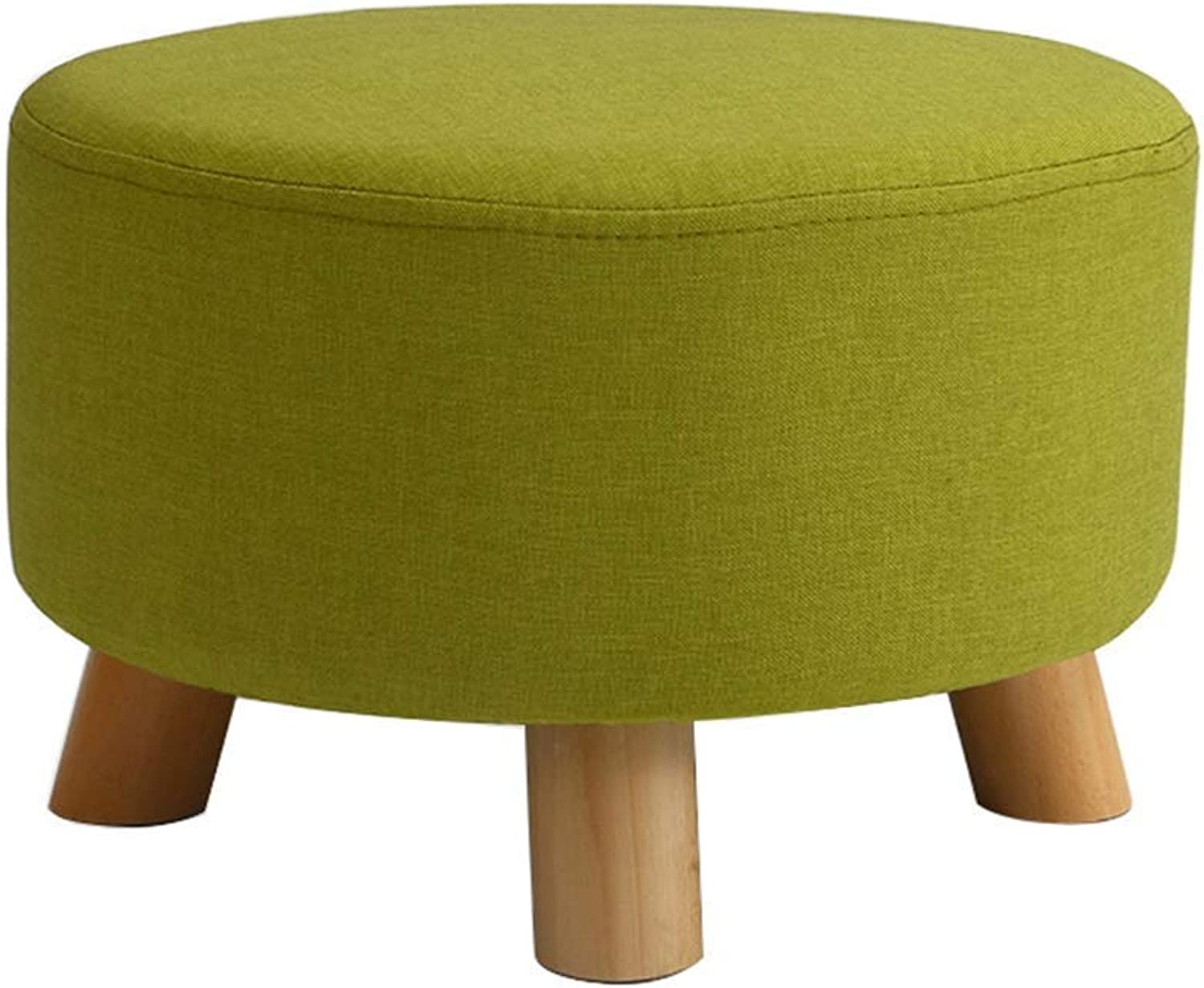 Large Round Footstool Padded Solid Wood Stool, 4 Legs, 42 × 42 × 26 cm (Length × Width × Height), Bearing 150 Kg (Green)