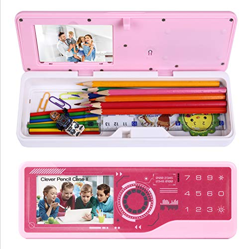 Kingsida Multifuctional Password Stationery Box Clever Pencil Case With LED Light (Pink/white)