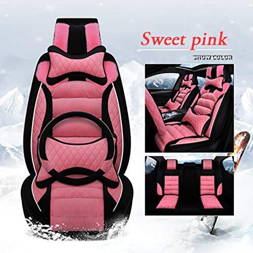 LUOLONG Voiture Seat Cover, Seat Peluche Hiver Universal Car Cover Siège Chaud Coussin pour Jeep Accessoires Renégats Boussole 2018 Cherokee Couvre, Sweet Pink Deluxe