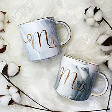 Vilight Mr Mrs Mugs Set - Bridal Shower Engagement and Wedding Gifts - Anniversary Coffee Cups for Engaged Married Couples - Ceramic Marble Tumbler 11.5 oz