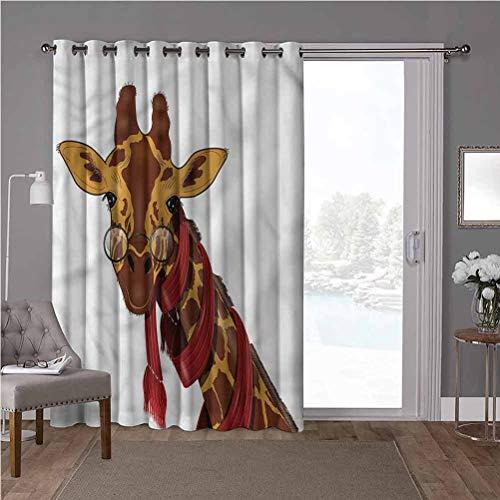 YUAZHOQI Cortina de puerta corredera para patio, dibujos animados, jirafa con gafas, 125 cm de ancho x 96 cm de largo para el tratamiento de ventanas para guarderías (1 panel)
