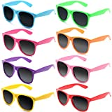 FSMILING Gafas de Sol Vintage Retro Colores de Neon Gafas de Fiesta para Mujer Hombre (8 piezas Multicolor)