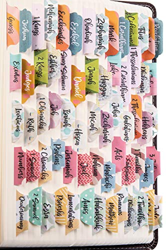 DiverseBee Laminated Bible Tabs (Large Print, Easy to Read), Personalized Bible Journaling Tabs, 66 Book Tabs and 14 Blank Tabs - Diverse Theme