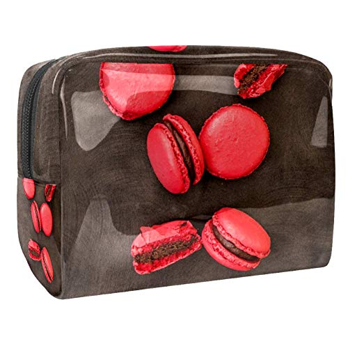 TIZORAX Trousse de maquillage en PVC Rouge Macaron Trousse de toilette de voyage Organisateur pour femme
