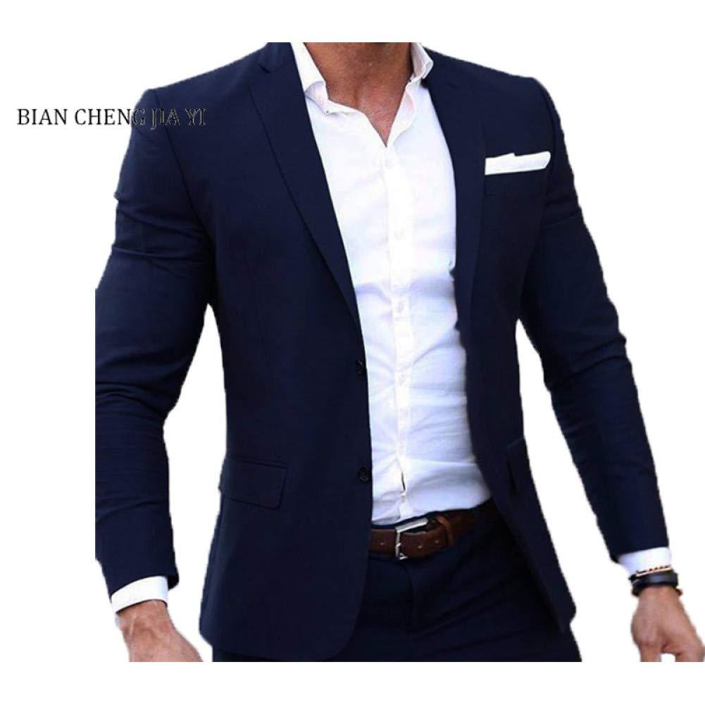 GFRBJK (Chaqueta + Pantalones) Hombres Traje de Boda Blazers Masculinos Trajes Slim Fit para Hombres Traje de Negocios Fiesta Formal Azul Marino Trajes de Hombres Clásicos , Marina , XXL: Amazon.es: Deportes