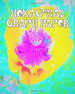 Hexagonal Graph Paper: Organic Chemistry Composition Notebook and Sketch Journal Featuring Yellow Poppy with Hot Pink Center on Turquoise Original Digital Oil Painting Cover Artwork