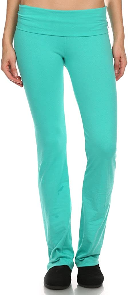 ACTIVE BASIC White Apparel Women's Cotton Yoga Pants with Foldover Waist and Flared Bottom
