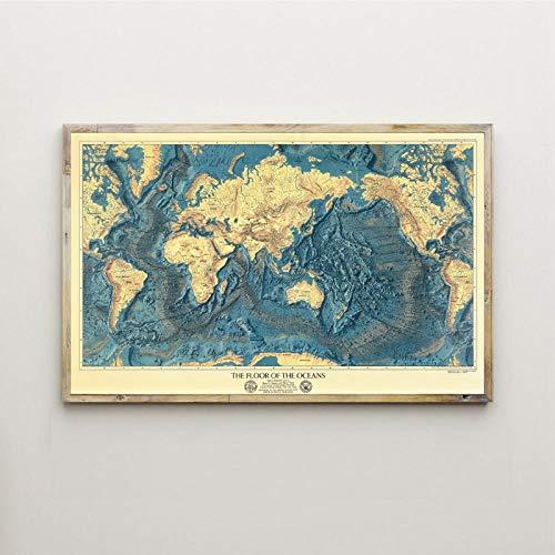 wZUN Arte Pintura Mapa océano Imagen impresión decoración del hogar Lienzo Acuarela Cartel Piso de la Sala de Estar 60x80cm Sin Marco