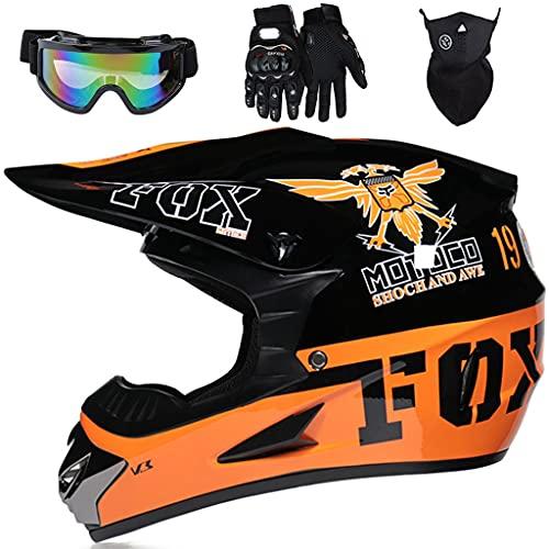 Aidasone Casco Motocross Niño, YEDIA-01 Cascos de Cross de Moto con Diseño Fox, Casco Integral de MTB ATV Quad Enduro Downhill con Gafas/Máscara/Guantes, ECE Certificación, Naranja Negro,XL