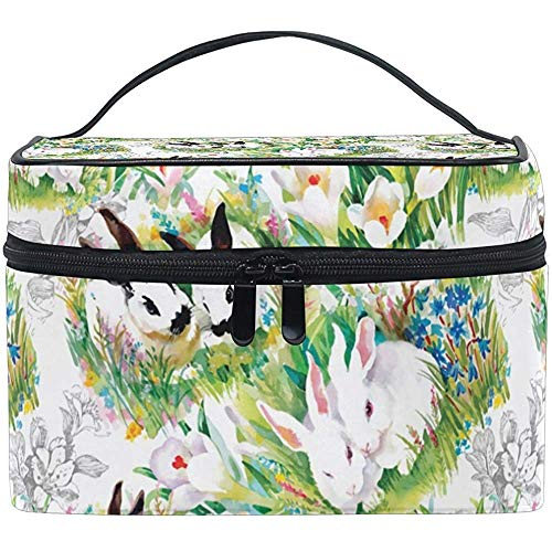 Lapins avec motif de fleurs sac cosmétique voyage maquillage train cas stockage organisateur