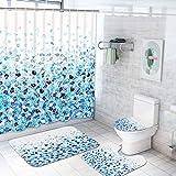Duschvorhang-Sets mit rutschfesten Teppichen, WC-Deckelbezug & Badematte, stilvoller Eiswürfel-Duschvorhang mit 12 Haken, lustiger, bunter wasserdichter Stoff-Duschvorhang für Badezimmer