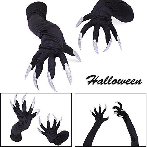 Guantes con falso juego de uñas blancas (unisex, para disfraz de bruja, gato, demonio, Halloween, fiestas, cosplay, etc.)
