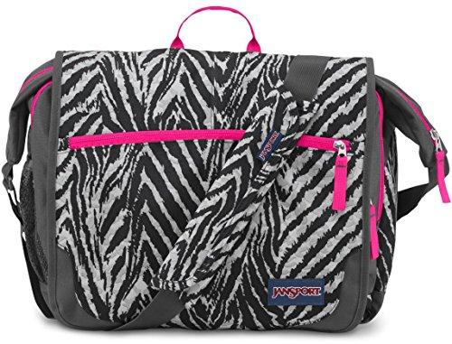 JanSport Elefunk-Printed Laptop Messenger Bag - Grey Tar Wild At Heart   13 H x 16 W x 5.5 D