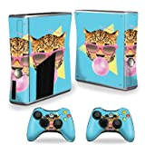 MightySkins Skin Compatible with X-Box 360 Xbox 360 S Console - Bubble Gum Cheetah | Protective, Durable, and Unique Vinyl wrap Cover | Easy to Apply, Remove, and Change Styles | Made in The USA