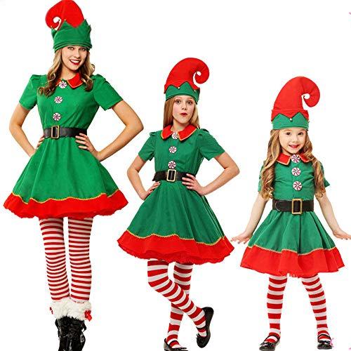 Vertvie Unisex Erwachsene Kinder Kostüm Weihnachtskostüm Wichtel Weihnachtself Set perfekt für Weihnachten Karneval Fancy Cosplay Dress mit Hut (Grüne Frau, Länge: 170)