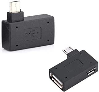 OTG Adapter, 90 Right Angle USB Port Adapter, Micro OTG Cable 2 Pack Compatible with Firestick 2nd Gen, 3rd Gen and 4K, An...