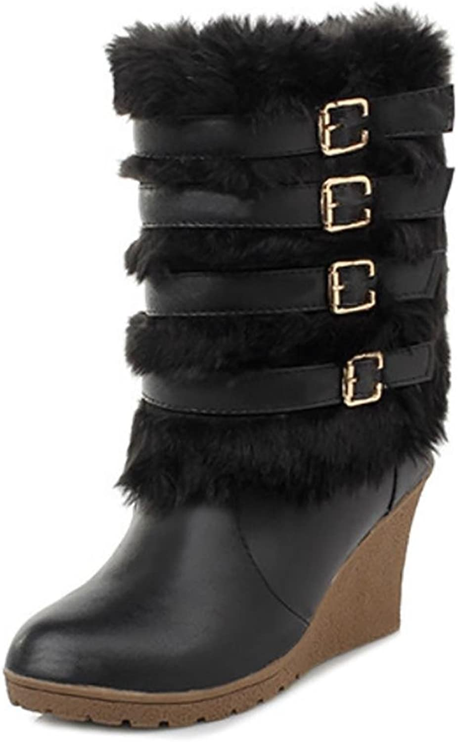 SHANGXIAN Ladies Long Fur Covered Rain Fur Lined Winter Warm Tall Snow Boots