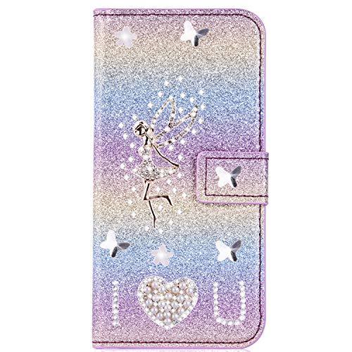 Miagon für Samsung Galaxy J6 2018 Glitzer Brieftasche Hülle,3D Diamant PU Leder Case Kartenslots Ständer Strass Wallet Flip Cover,Engel Regenbogen 2