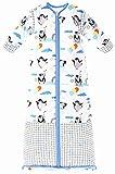 Chilsuessy Winter 3.5 Tog Kinder Schlafsack mit abnehmbaren Ärmeln Bio Babyschlafsack für Jungen und Mädchen von 1 bis 10 Jahre alt, Blau Pinguin, L/Koerpergroesse 100-130cm