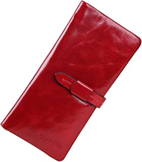 Leather Women's Wallet Leather Long Oil Wax Leather Wallet Casual Large Capacity Clutch Waterproof (Color : Red, Size : S)