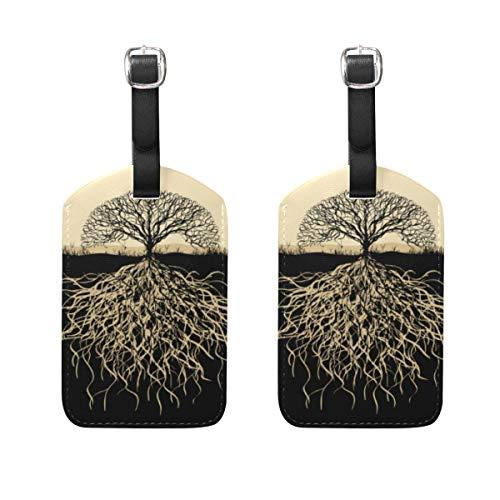 VORMOR Gepäckanhänger (Sortiert, 2 PK),Baum Silhouette Wurzeln, Gepäckanhänger, Kofferanhänger für Rucksäcke