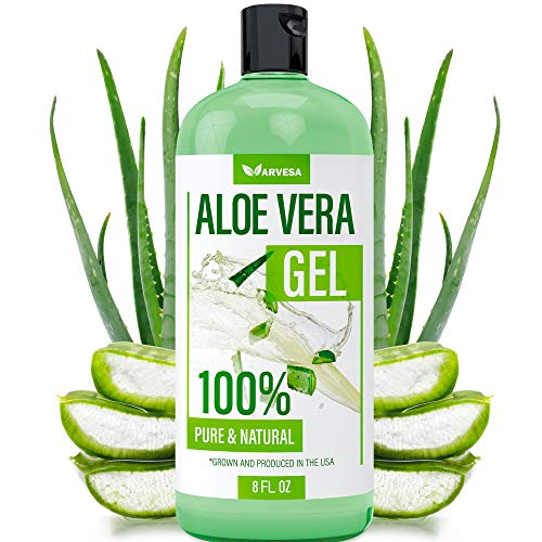Aloe Vera Gel  100% Aloe Vera Gel for Moisturizing Skin Face and Body After Sun Care  Soothing Aloe Lotion for Sunburn and Acne Naturally Grown in the USA  Non Sticky  8 oz