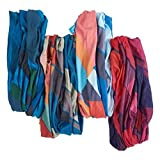 "Bamboo Trading Company Boho Wide Headbands - Set of 4 Wander Geometric Print Headwraps - 16"" L x 9"" W - Blue, Red, Pink, Purple, Aqua Tones"