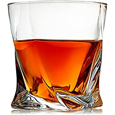 Venero Whiskey Glasses - Set of 4 - Premium Lead-Free Crystal Glass Cups - Large 10 oz Tasting Tumblers for Drinking Scotch, Bourbon, Irish Whisky, Brandy - Luxury Gift Box for Men or Women
