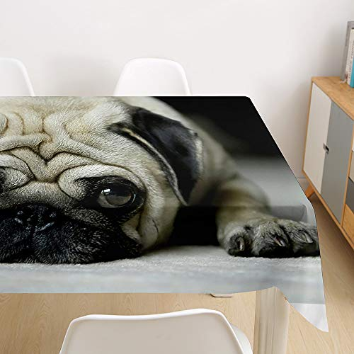 Oduo Mantel Impermeable Antimanchas poliéster, Impresión de Perro 3D decoración Resistente al Desgaste Lavable Apto,Distintos diseños y tamaños a Elegir (Doguillo,90x90cm)