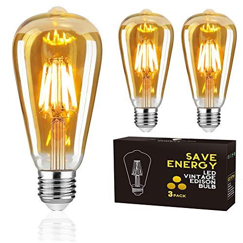 LED Vintage Glühbirne, Woowtt Edison Glühbirne E27, 6W LED Filament Retro Glühbirne, Antike Amber Warm Licht Lampe, 600 Lumen, ST64, 6W(60W Äquivalent) - 3 Stück