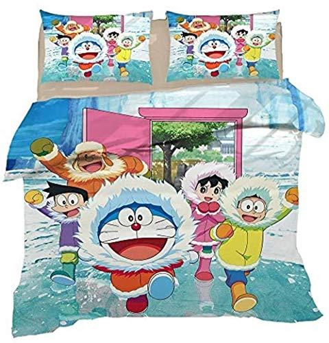 Doraemon - Juego de ropa de cama para niños, microfibra ultra suave, funda de edredón para cama individual (135 x 200 cm)