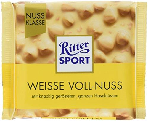 RITTER SPORT Weisse Voll-Nuss (10 x 100 g), ganze Haselnüsse in weißer Schokolade, verfeinert mit knusprigen Reis-Crisps und Vanille, Tafelschokolade