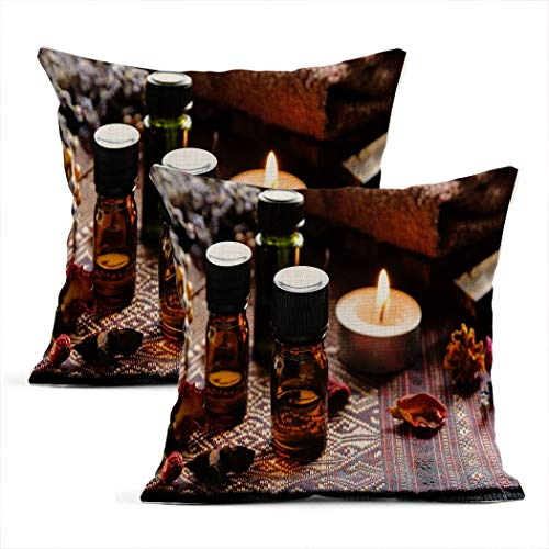 Xincow Set of 2 Throw Pillow Covers Essential Oils with Herbs in Candle Light Home Durable Decor Linen Pillowcase Square Cushion Sofa 16x16 Inches