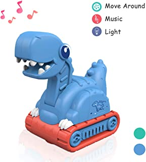Lehoo Castle Dinosaur Toys for Toddlers, Dinosaur Construction Vehicles Toys with Light and Music, Excavator Toy Vehicles, Cement Mixer Truck Toys for 3 4 5 6 + Years Old Kids (Blue)