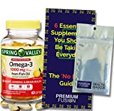 Omega-3 from Fish Oil, Proactive Support, 1000 mg, 60 Softgels (Lemon Flavor) + Vitamin Pouch and Guide to Supplements