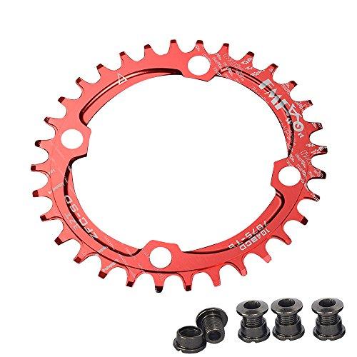 Plato para bicicleta de Upanbike, diseño estrecho y ancho, forma ovalada, plato único BCD, 104mm, 32/34 y 36 dientes, rojo, 32T