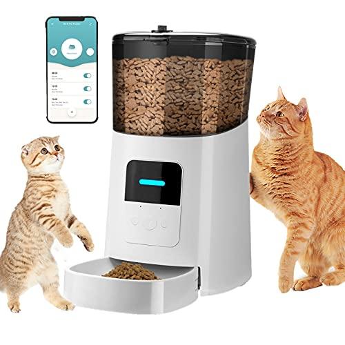 Distributore Automatico Cibo per Cani Gatti Animali Domestici, Wifi 6L Anti-bloccato Tempismo Registrazione Vocale Dosatore Crocchette, Doppia Alimentazione Controllo Porzioni Dispenser Crocchette