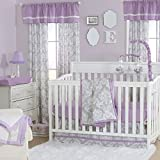 Grey Damask and Purple 3 Piece Baby Crib Bedding Set by The Peanut Shell