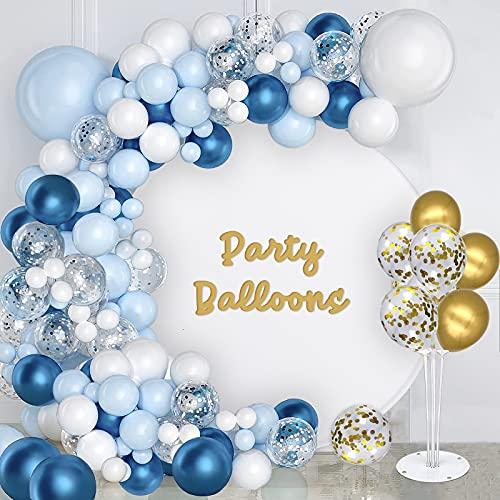 Arco Palloncini Blu, Kit Ghirlanda Palloncini 115 Pezzi, Palloncini Blu Bianchi, Palloncini Coriandoli Argento Oro per Compleanno, Battesimo Bambino e Decorazioni per Feste