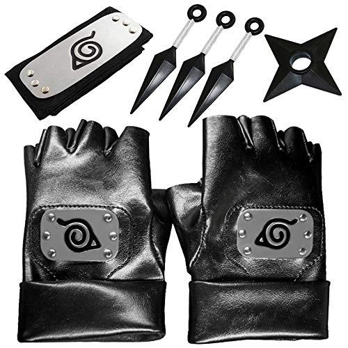 Daohexi Naruto Cosplay Zubehör Set, einschließen Naruto Stirnband und Naruto Cosplay Handschuhe, Requisiten Spielzeug Cosplay Zubehör Für Naruto Fans