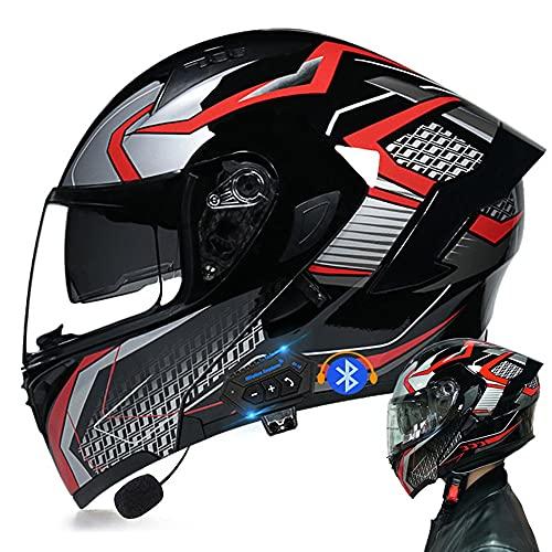 Bluetooth Casco Moto Modular, Cascos Flip Up Motocicleta, con Doble Anti Niebla Visera Cascos De Motocicleta ECE Homologado, para Mujeres Y Hombres, Transpirable Y Cómoda
