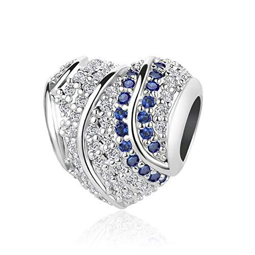 MiniJewelry Streaming Heart Charm for Bracelets fits Pandora Bracelets Gift Wife Girlfriend Mum Women September Blue Birthstones