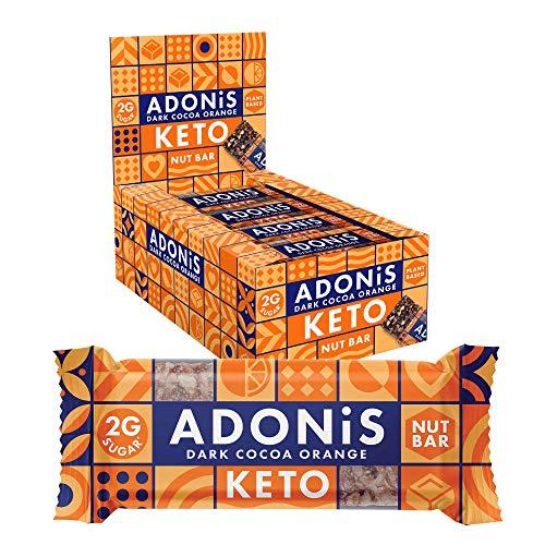 Adonis Keto Bar | Dark Chocolate Orange Snack Bars | 100% Natural Snacks, Low Carb, Vegan, Gluten Free, Low Sugar, Paleo (Pack of 16)