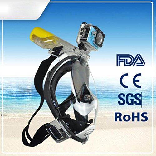 HJXJXJX Erwachsene Anti - Fog - auslaufsichere medizinische Silikon - Material Einteilige Full - Face - Schnorchelmaske dreifarbig optional, Black, s/m