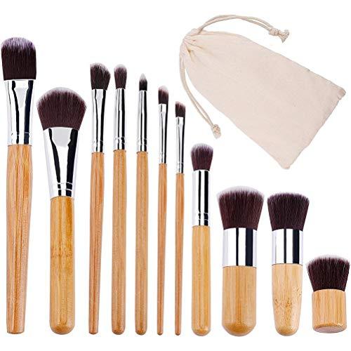 Tixiyu Lot de 11 pinceaux de maquillage en bambou naturel - Végétalien Pro Cosmetics Kabuki - Pinceaux de maquillage extrêmement doux avec sac
