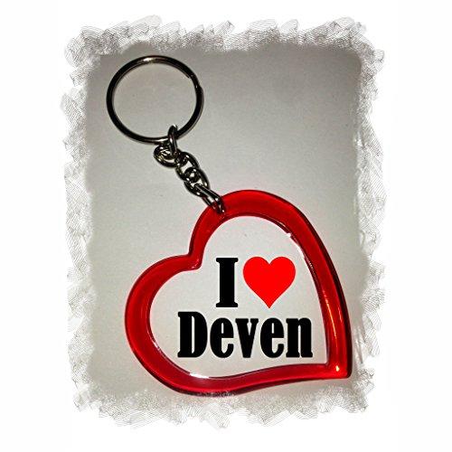 Druckerlebnis24 Herz Schlüsselanhänger I Love Deven - Exclusiver Geschenktipp zu Weihnachten Jahrestag Geburtstag Lieblingsmensch